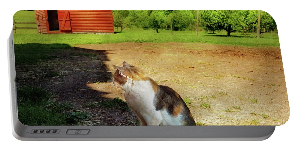 Savad Portable Battery Charger featuring the photograph Animal - Cat - The Mouser by Mike Savad