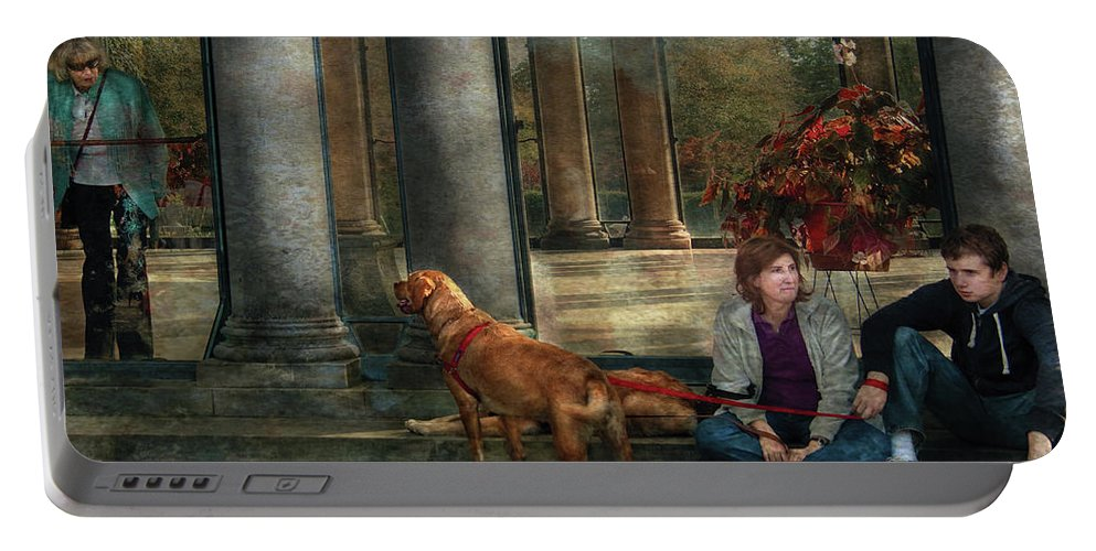 Savad Portable Battery Charger featuring the photograph Animal - Dog - Hello There by Mike Savad
