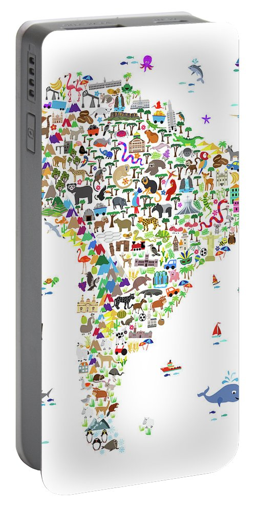 South America Map Portable Battery Charger featuring the digital art Animal Map Of South America For Children And Kids by Michael Tompsett