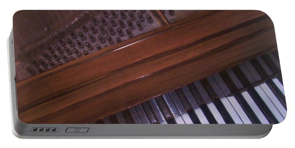 Piano Portable Battery Charger featuring the mixed media Anita's Piano 1 by Anita Burgermeister