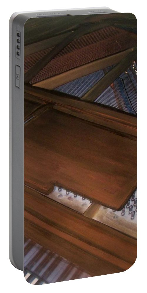 Piano Portable Battery Charger featuring the mixed media Anita's Piano 2 by Anita Burgermeister