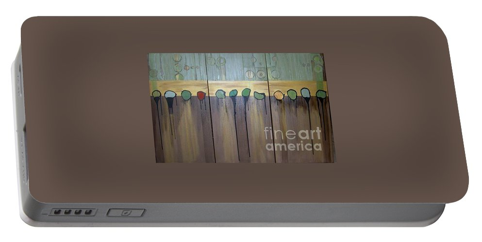 Abstract Portable Battery Charger featuring the painting Annie by Marlene Burns