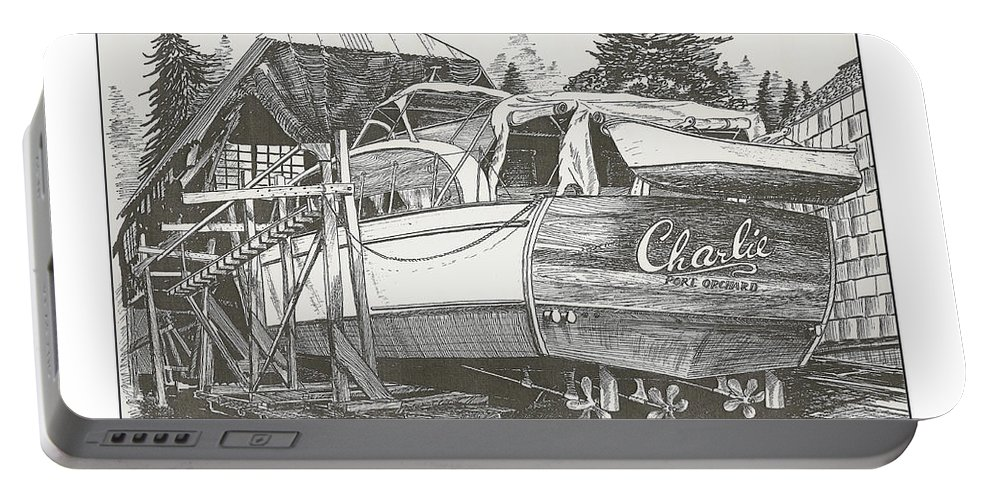 Nautical Yacht Portraits Portable Battery Charger featuring the drawing Annual Haul Out Chris Craft Yacht by Jack Pumphrey