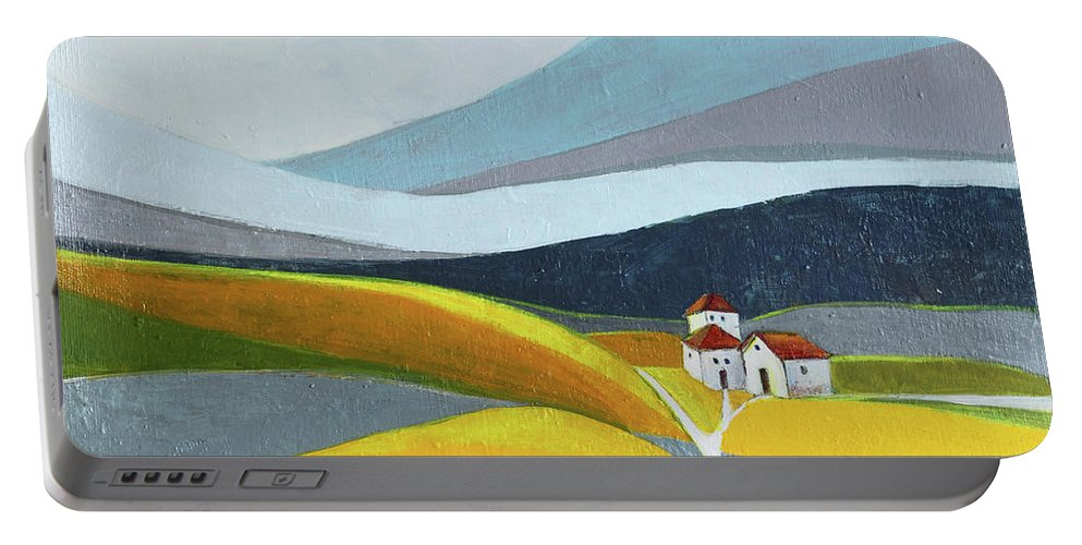 Landscape Portable Battery Charger featuring the painting Another Day On The Farm by Aniko Hencz