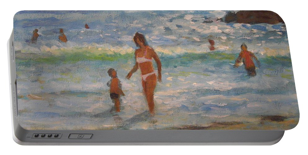 Sea Portable Battery Charger featuring the painting Another Hot Day by John Richie