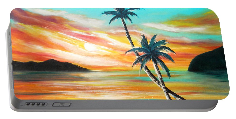Sunset Portable Battery Charger featuring the painting Another Sunset In Paradise by Gina De Gorna