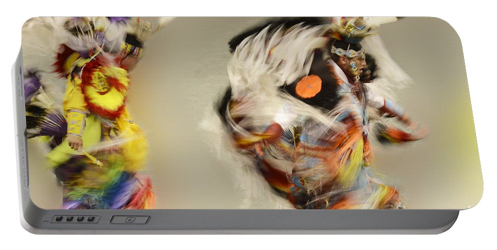 Pow Wow Portable Battery Charger featuring the photograph Pow Wow Another World Another Time by Bob Christopher