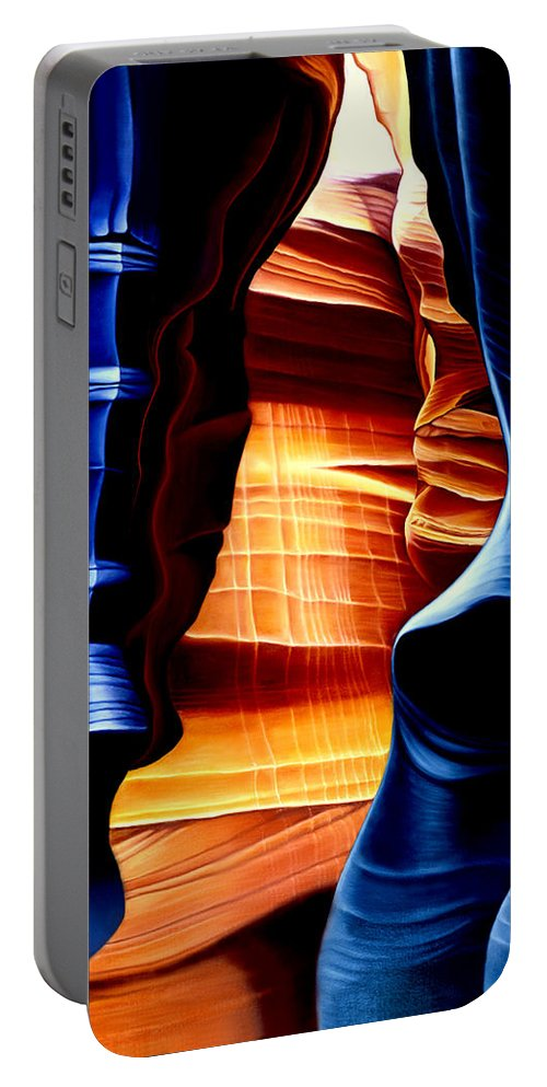 Landscape Portable Battery Charger featuring the painting Antelope Canyon by Anni Adkins