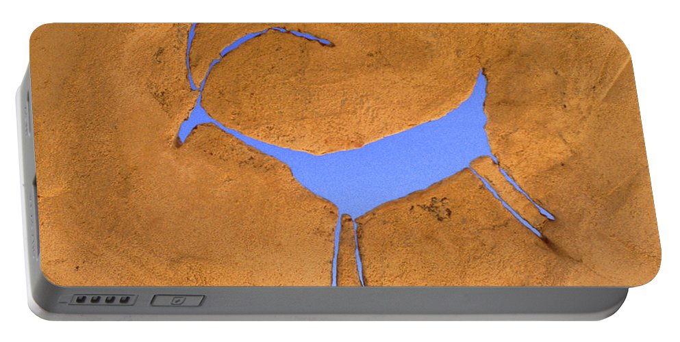 Anasazi Portable Battery Charger featuring the photograph Antelope Petroglyph by Jerry McElroy