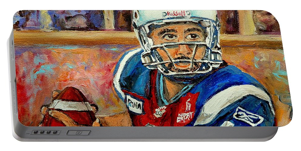 Anthony Calvillo Portable Battery Charger featuring the painting Anthony Calvillo by Carole Spandau