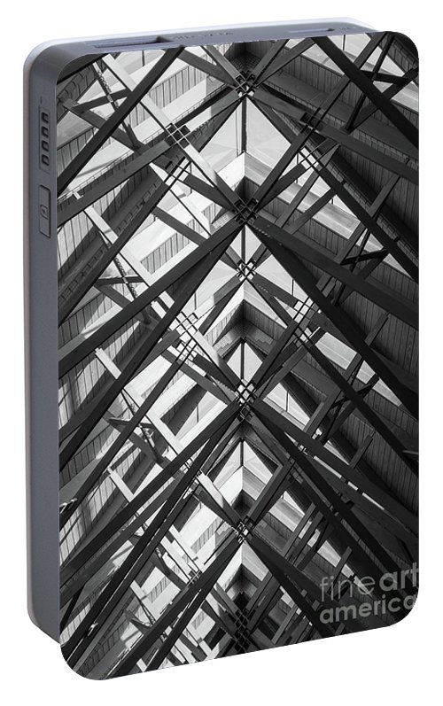 Abstract Portable Battery Charger featuring the photograph Anthony Skylights Grayscale by Jennifer White