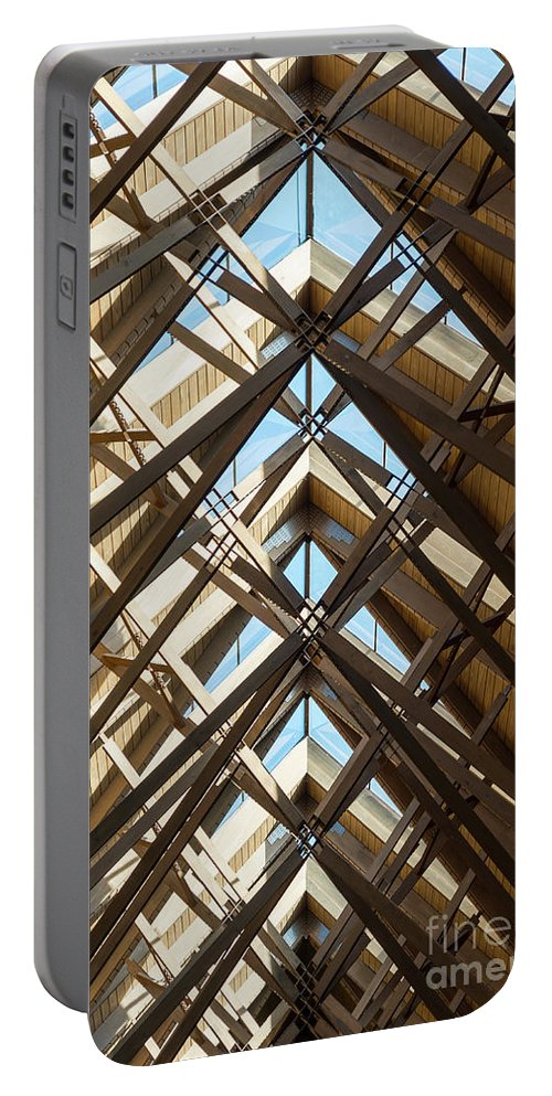 Abstract Portable Battery Charger featuring the photograph Anthony Skylights by Jennifer White