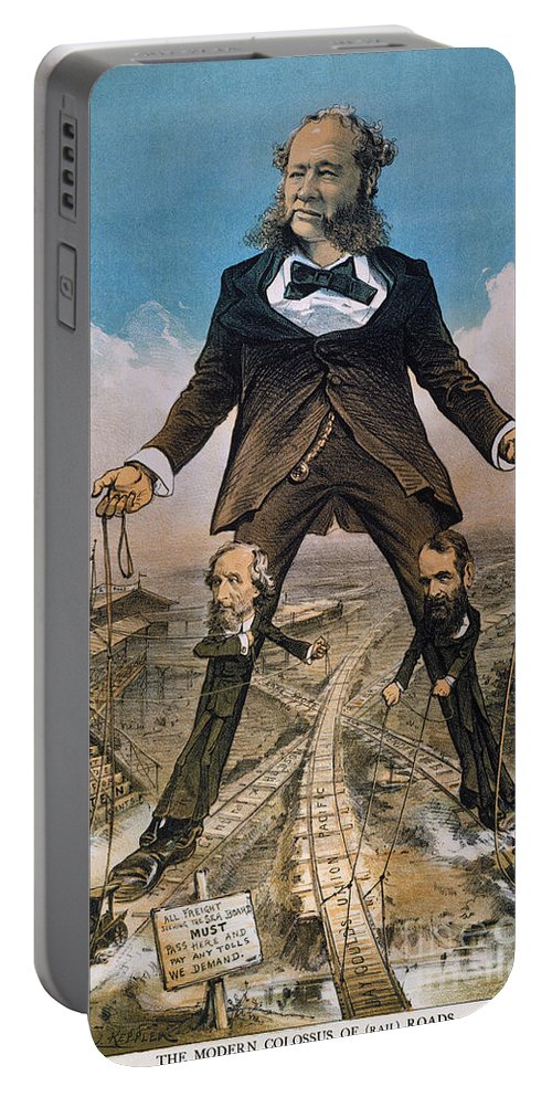 Portable Battery Charger featuring the painting Anti-trust Cartoon, 1879 by Granger