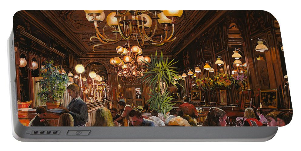 Brasserie Portable Battery Charger featuring the painting Antica Brasserie by Guido Borelli