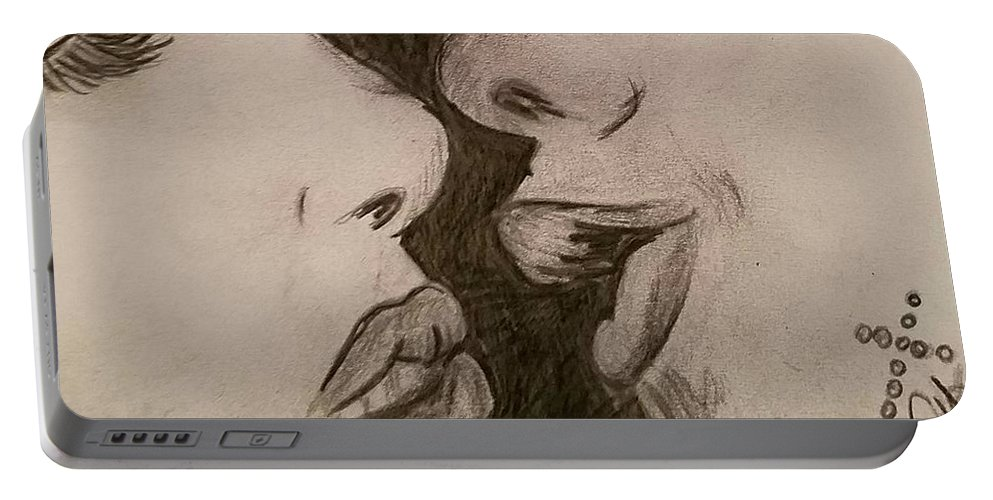 Kiss Portable Battery Charger featuring the drawing Anticipation Of A Kiss by Ginette Kenyon