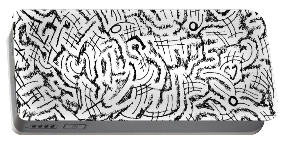 Mazes Portable Battery Charger featuring the drawing Anticipative by Steven Natanson