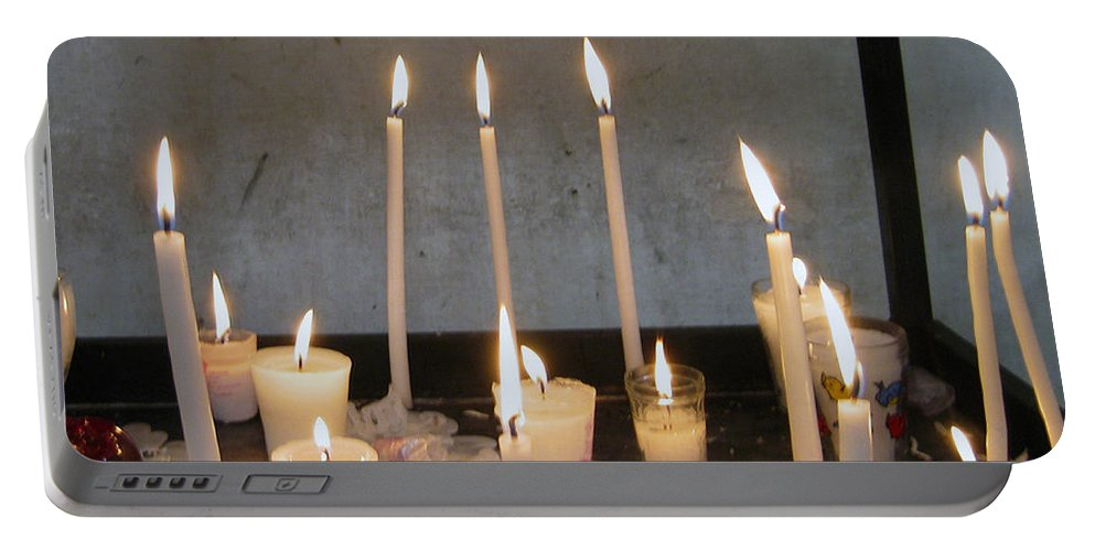 Candles Portable Battery Charger featuring the photograph Antigua Church Candles by Kurt Van Wagner