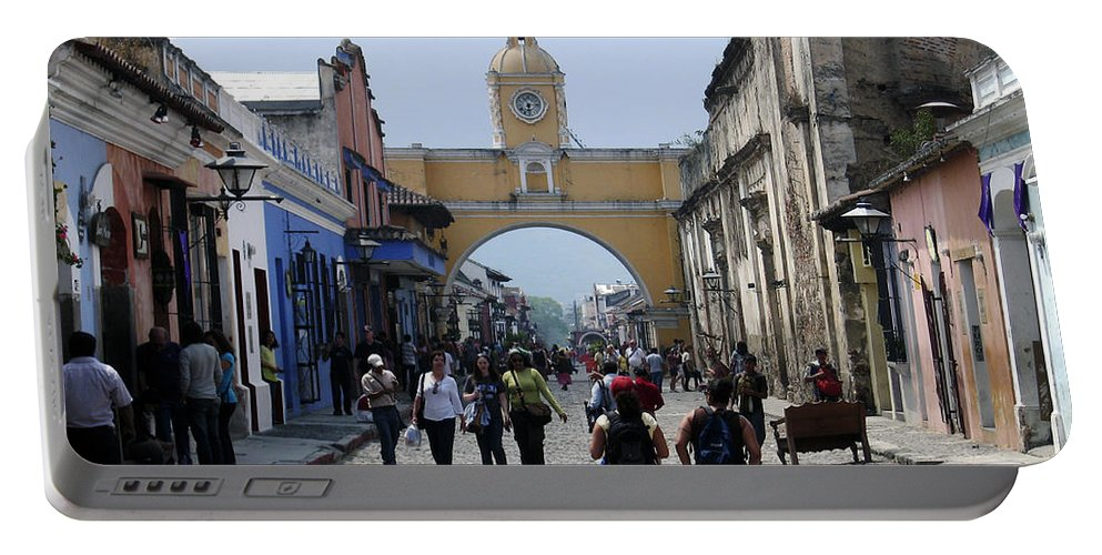Street Portable Battery Charger featuring the photograph Antigua Street Scene by Kurt Van Wagner