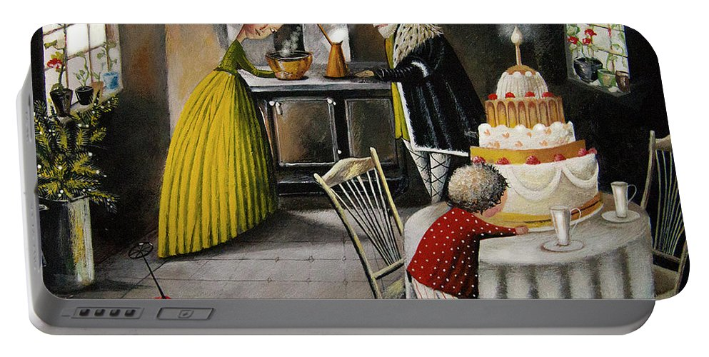 Genre Painting Portable Battery Charger featuring the painting Antipication. by Emilia Shelamova
