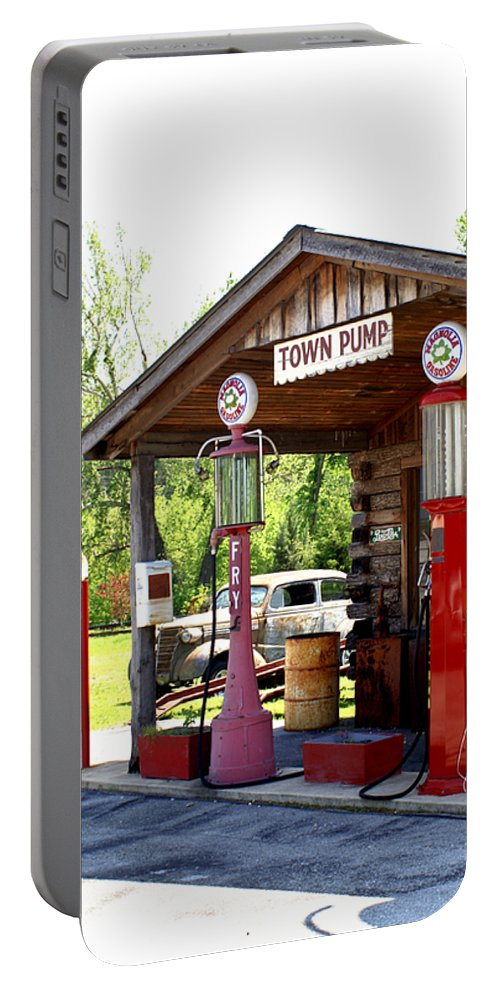Antique Portable Battery Charger featuring the photograph Antique Car And Filling Station 2 by Douglas Barnett