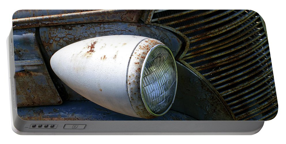 Antique Portable Battery Charger featuring the photograph Antique Car Headlight by Douglas Barnett