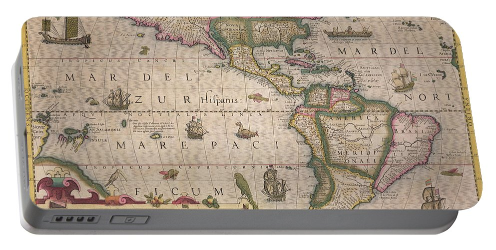 Maps Portable Battery Charger featuring the drawing Antique Map Of America by Jodocus Hondius