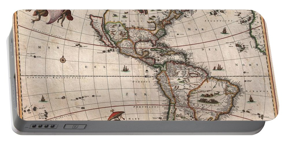 Antique Map Of North America Portable Battery Charger featuring the drawing Antique Maps - Old Cartographic maps - Antique Map of North and South America, 1658 by Studio Grafiikka