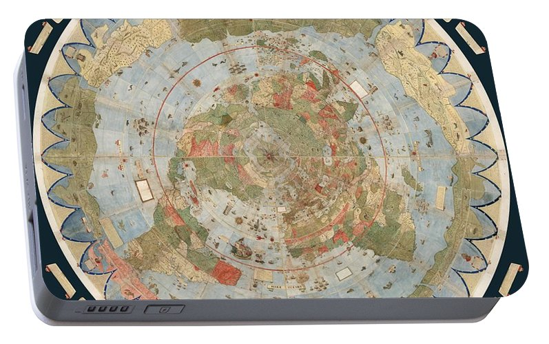 Antique maps old cartographic maps flat earth map map of the flat earth map portable battery charger featuring the drawing antique maps old cartographic maps gumiabroncs Choice Image