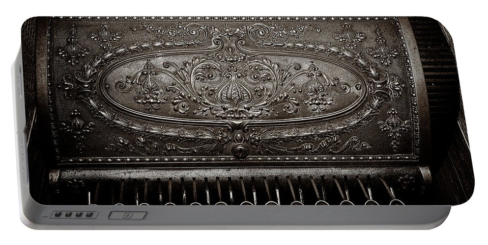 Cash Register Portable Battery Charger featuring the photograph Antique Ncr - Sepia by Christopher Holmes