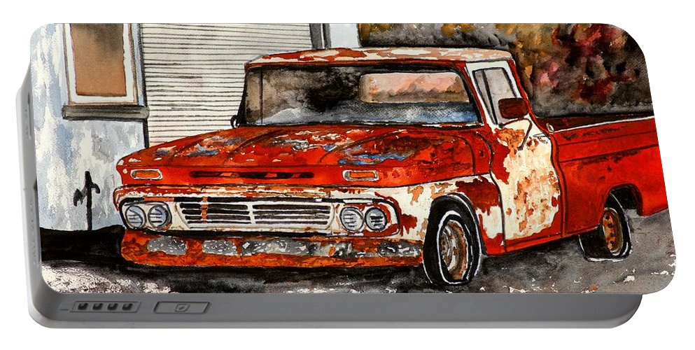 Transportation Portable Battery Charger featuring the painting Antique Old Truck Painting by Derek Mccrea