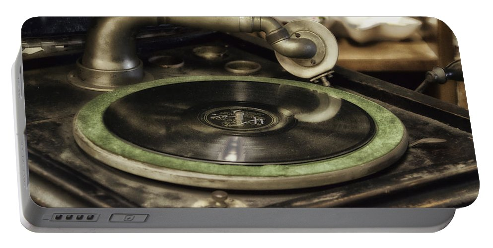 Musical Portable Battery Charger featuring the photograph Antique Record Player 01 by Thomas Woolworth