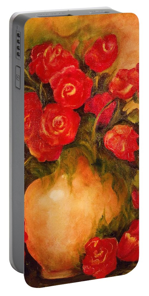 Pretty Portable Battery Charger featuring the painting Antique Roses by Jordana Sands