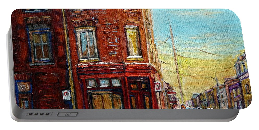 Montreal Portable Battery Charger featuring the painting Antique Shop In Saint Henri by Carole Spandau