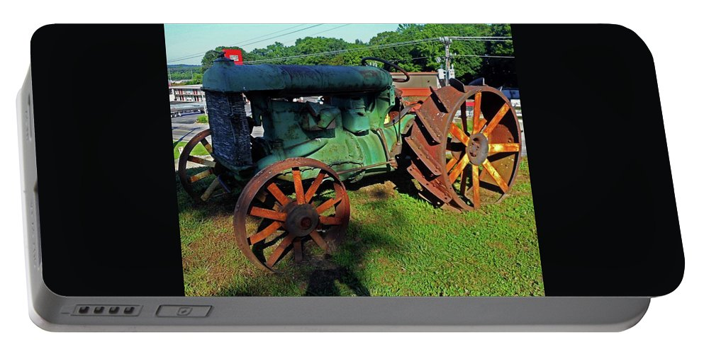 Hurricane Mills Portable Battery Charger featuring the photograph Antique Tractor 3 by Ron Kandt