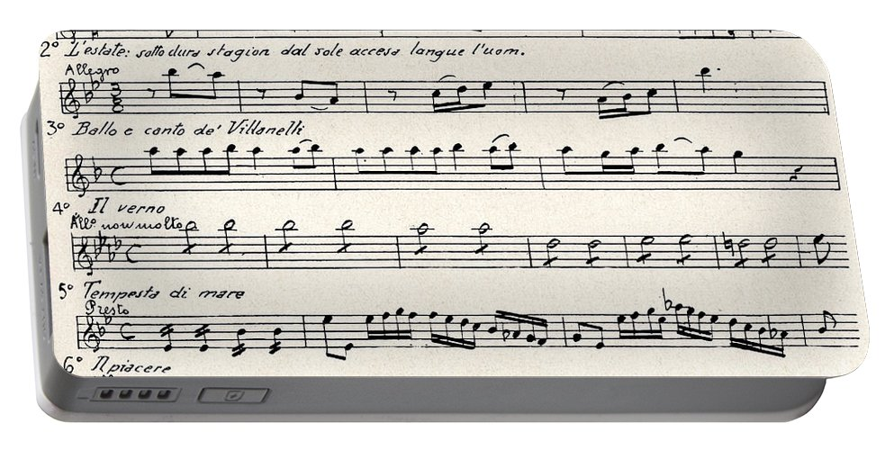 Vivaldi Portable Battery Charger featuring the drawing Antonio Vivaldi The Four Seasons by Antonio Vivaldi