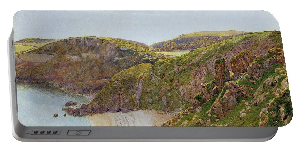 Anstey Portable Battery Charger featuring the painting Antsey's Cove South Devon by George Price Boyce