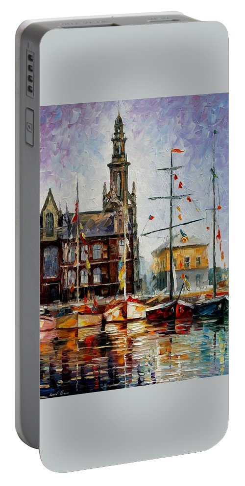 Afremov Portable Battery Charger featuring the painting Antwerp - Belgium by Leonid Afremov