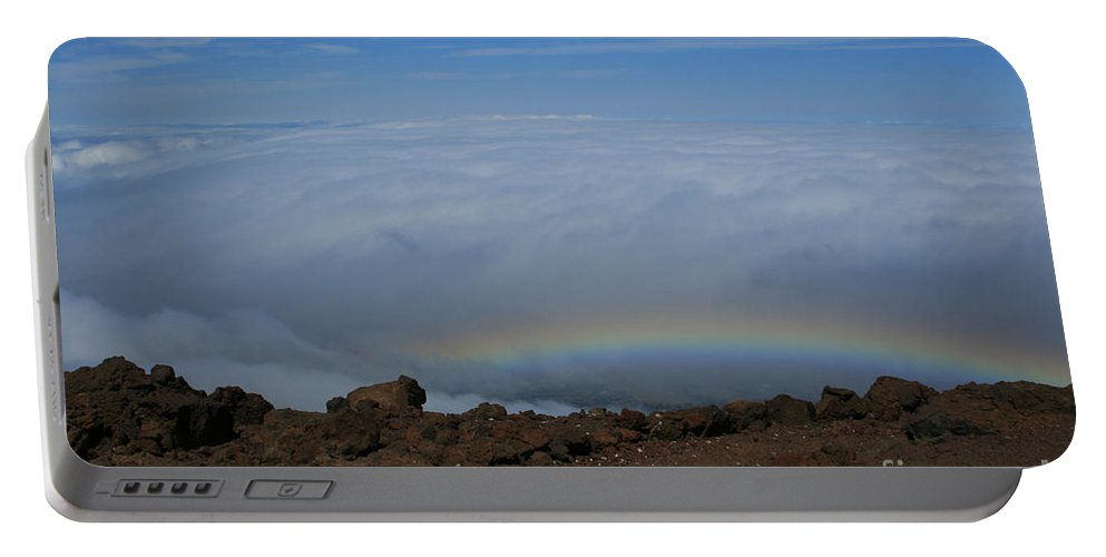 Aloha Portable Battery Charger featuring the photograph Anuenue - Rainbow At The Ahinahina Ahu Haleakala Sunrise Maui Hawaii by Sharon Mau