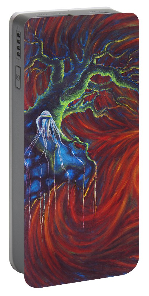 Tree Paintings Portable Battery Charger featuring the painting Anxiety by Jennifer McDuffie