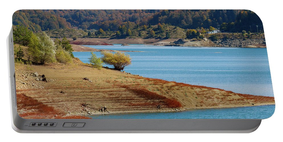 Aoos Portable Battery Charger featuring the photograph Aoos Lake Shore In Epirus, Greece by Iordanis Pallikaras