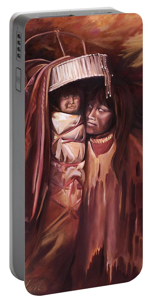Native American Portable Battery Charger featuring the painting Apache Girl And Papoose by Nancy Griswold