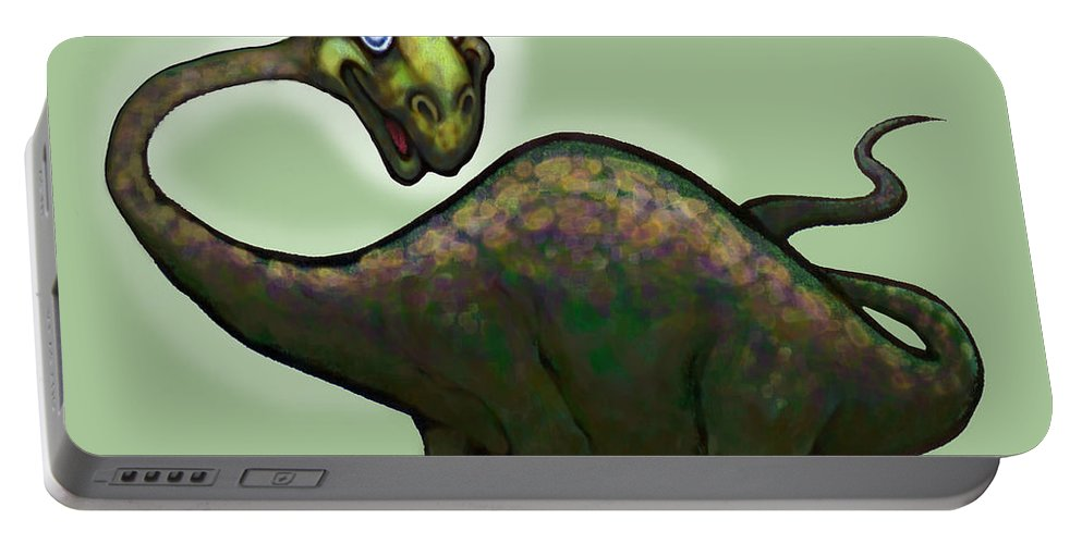 Apatosaurus Portable Battery Charger featuring the greeting card Apatosaurus Brontosaurus by Kevin Middleton