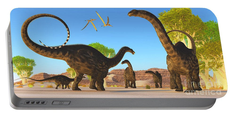 Apatosaurus Portable Battery Charger featuring the painting Apatosaurus Forest by Corey Ford