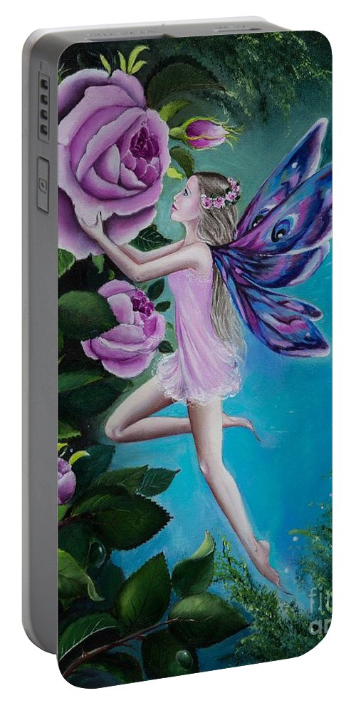 Fairy Portable Battery Charger featuring the painting Aphrodite's Rose by Gabriella Szabo