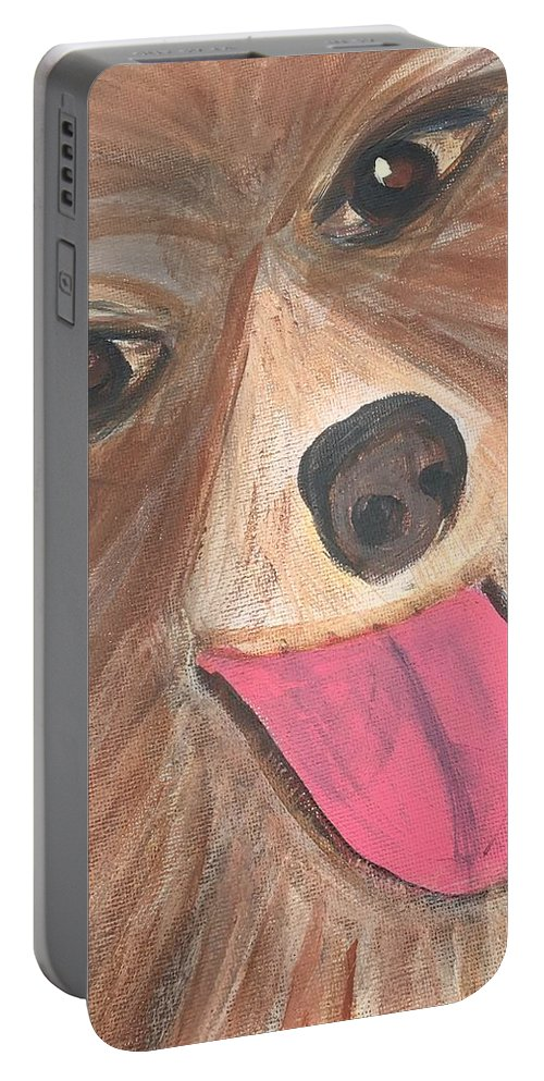 Beautiful Eyes Of A Pomeranian. Hues Of Brown On His Double Coat Eyes Just Sparkle Portable Battery Charger featuring the painting Apollo by Sue Dowdall