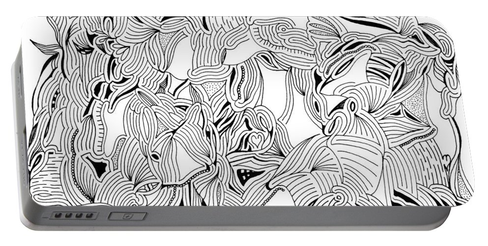 Mazes Portable Battery Charger featuring the drawing Apparitions by Steven Natanson