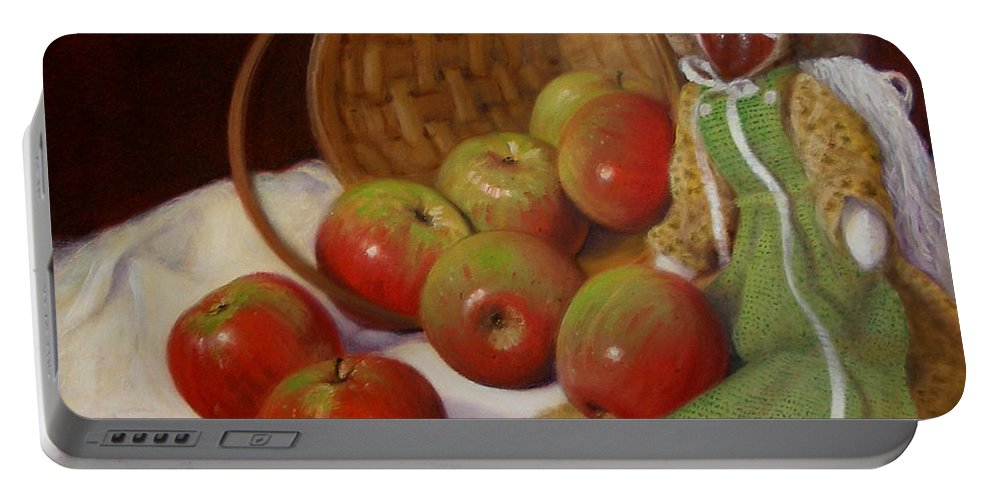 Realism Portable Battery Charger featuring the painting Apple Annie by Donelli DiMaria