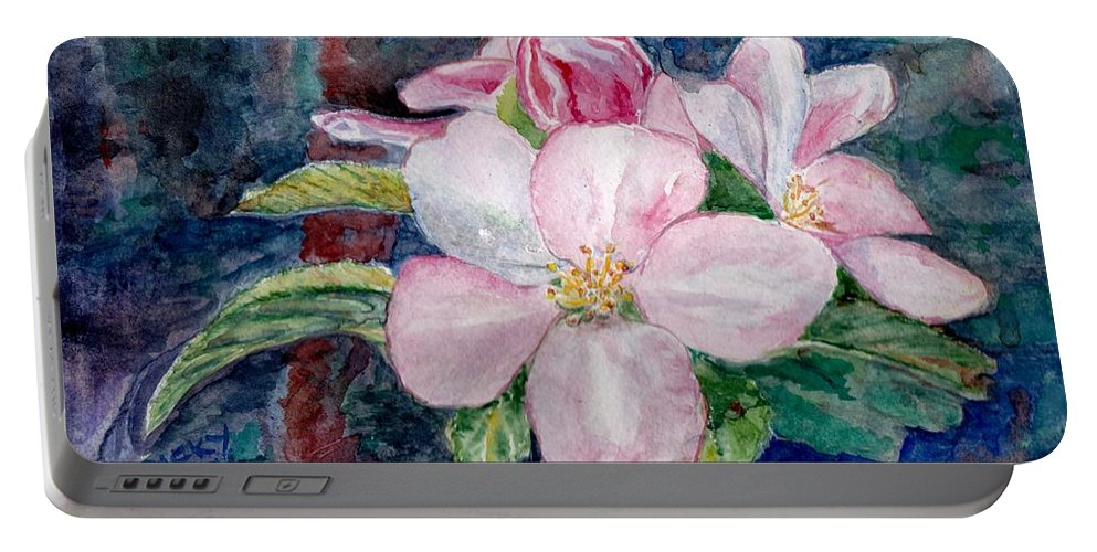 Flowers Portable Battery Charger featuring the painting Apple Blossom - Painting by Veronica Rickard