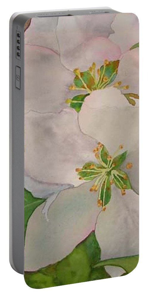 Apple Blossoms Portable Battery Charger featuring the painting Apple Blossoms by Sharon E Allen