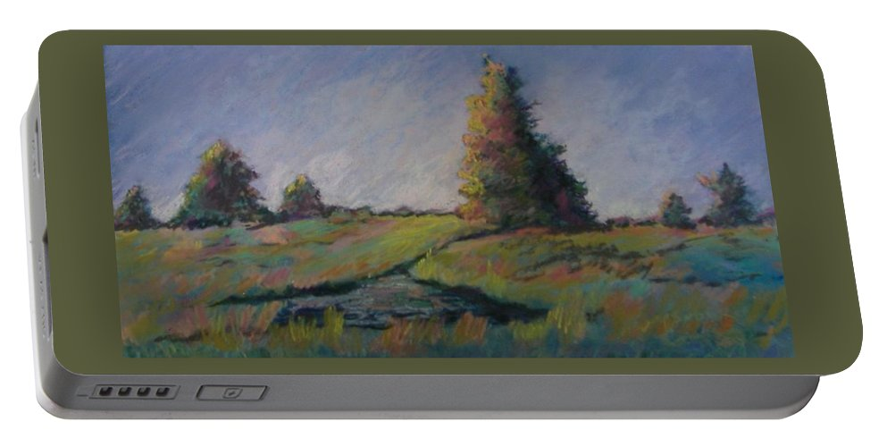 Landscape Portable Battery Charger featuring the pastel Apple Pond by Pat Snook